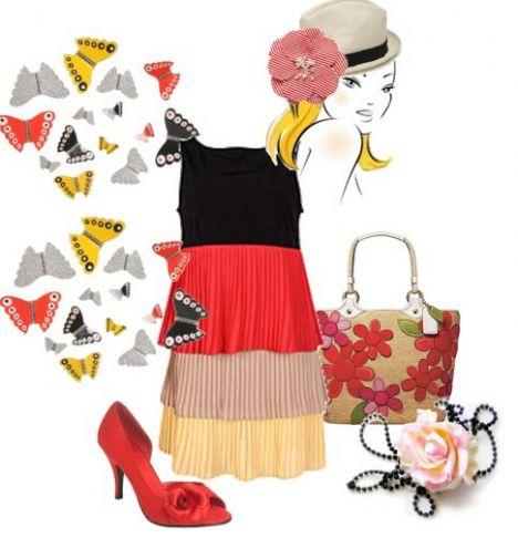Rengarenk kat kat askılı elbisenize, çiçek detaylı bir çanta ve ayakkabı ile kombinleyerek doğru bir tercih yapmış olacaksınız.